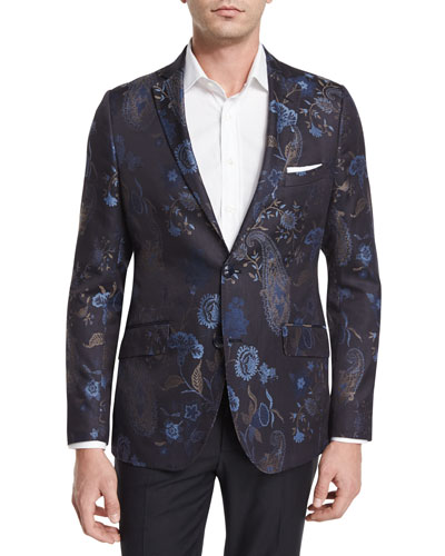 Tapestry Paisley-Print Jacquard Evening Jacket, Navy