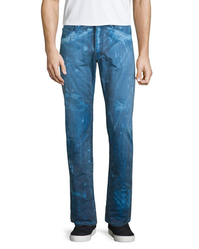 Barracuda Bleach-Splatter Denim Jeans, Dark Blue
