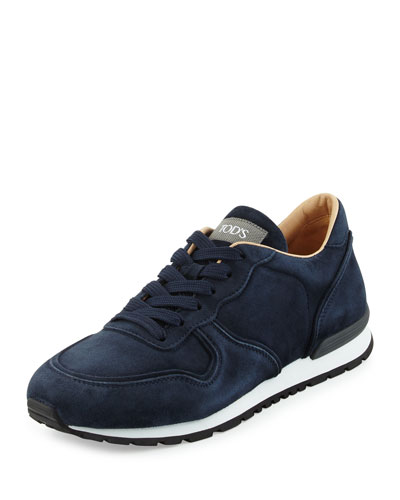 Tod's  SUEDE LACE-UP TRAINER SNEAKER, NAVY