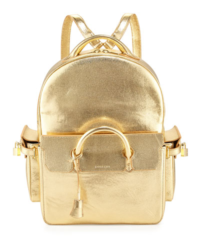 PHD Shiny Leather Backpack, Gold