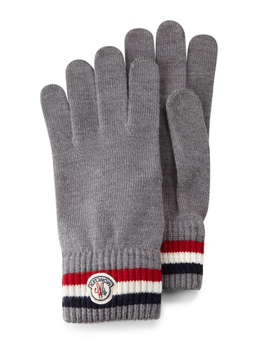 Logo-Striped Cashmere Knit Gloves, Gray