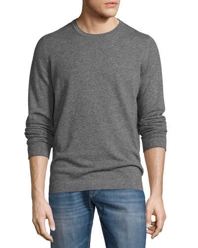 Cashmere Long-Sleeve Sweater, Charcoal