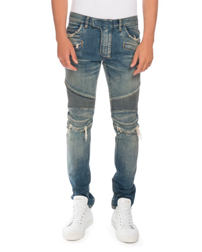Distressed Denim Moto Jeans, Blue
