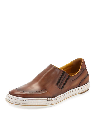 Calf Leather Slip-On Sneaker, Bourbon