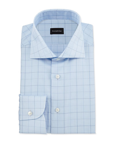 Dotted Box-Check Dress Shirt, Light Blue