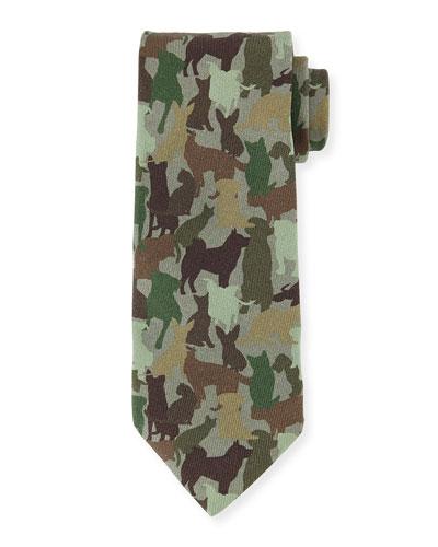 Silk Dog Camo-Print Tie