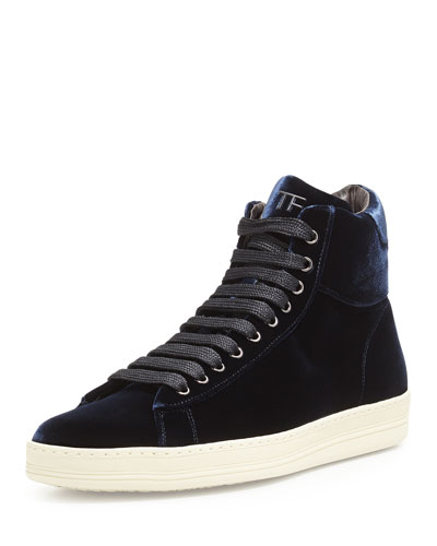 Russel Velvet High-Top Sneaker, Navy