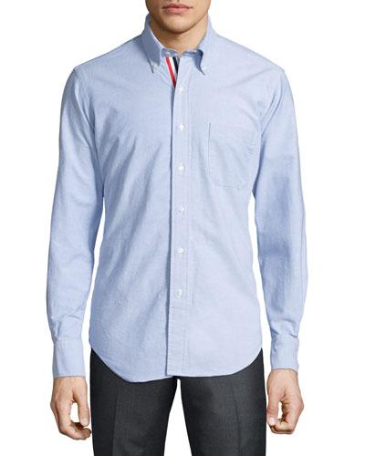 Long-Sleeve Cotton Oxford Shirt, White