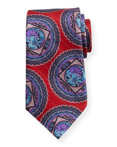 Metallic Circle Medallion Tie, Red
