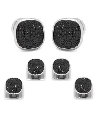 Black Preciosa Pave Cuff Links & Stud Set
