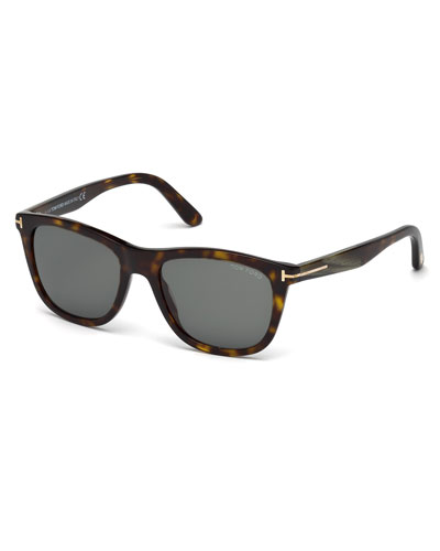 Andrew Square Shiny Acetate Sunglasses, Dark Havana