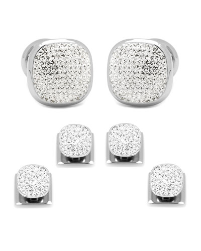 White Preciosa Pave Cuff Links & Stud Set