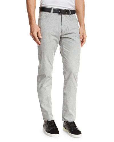 Melange Five-Pocket Jeans, Silver Gray