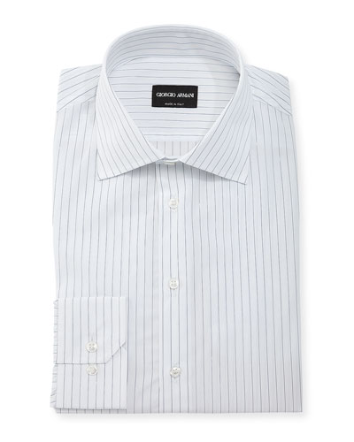 Hairline-Stripe Long-Sleeve Dress Shirt