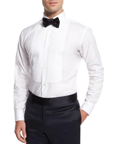 Basic Pleated Cotton Dress Shirt, White