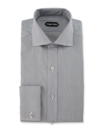 Fine-Stripe Dress Shirt, Black