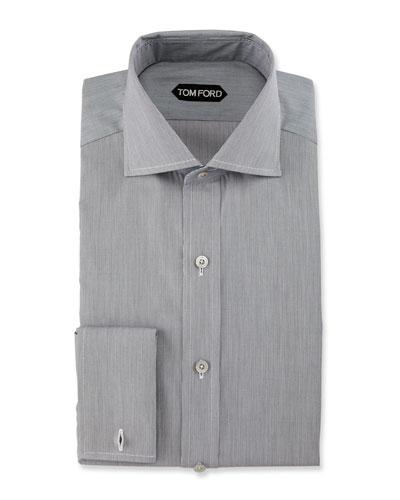 Fine-Stripe Dress Shirt, Black