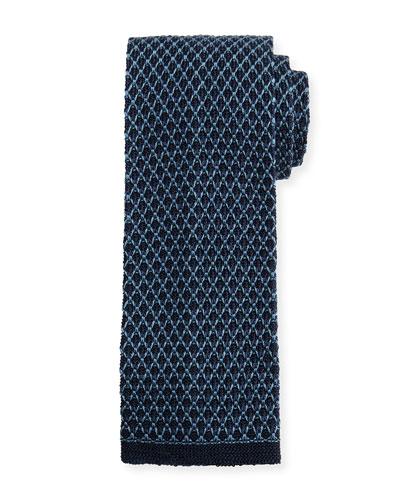 Gauze Knit Tie, Blue