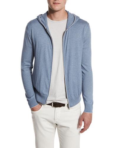 Cashmere & Cotton Front-Zip Hoodie