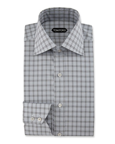 Slim-Fit Glen Plaid Dress Shirt, Black