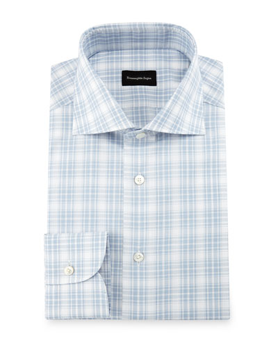Textured Plaid Dress Shirt, White/Blue