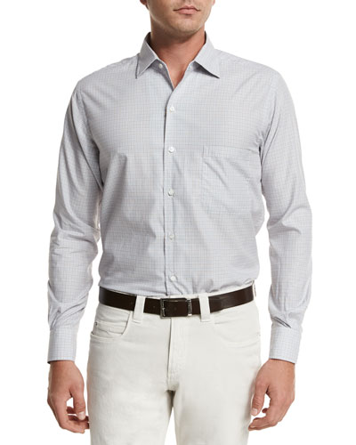 André Aster Check Sport Shirt, Fancy White/Mustard