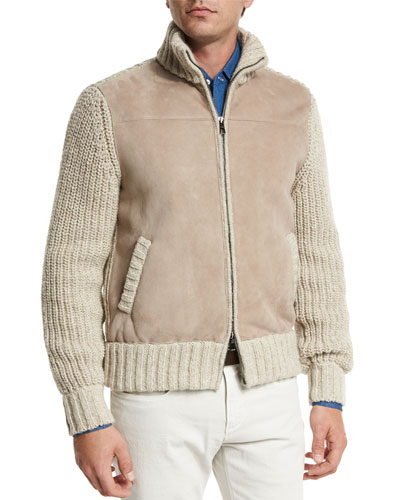 Lamb Suede & Tweed Jacket, Natural/Taupe