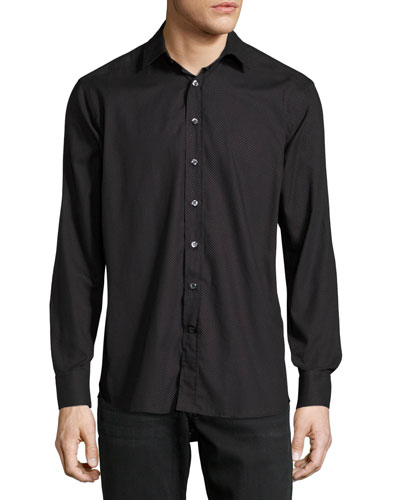 Etro Cottons DOT-PRINT COTTON SHIRT, BLACK