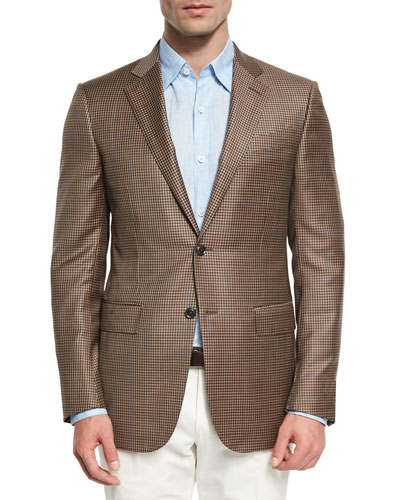 Check Wool Two-Button Sport Coat, Tan/Blue
