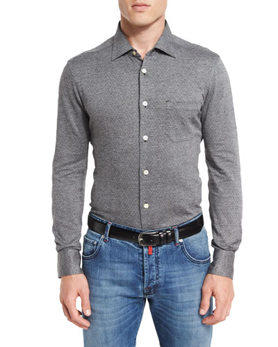Pin-Dot Knit Shirt, Gray