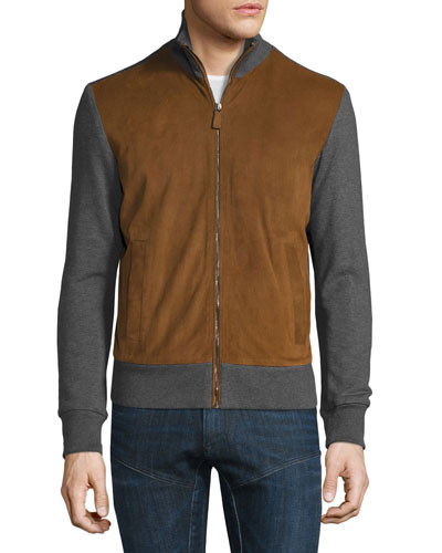 Suede-Panel Front-Zip Sweater, Cognac/Gray