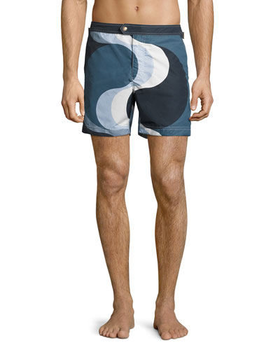Wave-Print Swim Trunks, Navy
