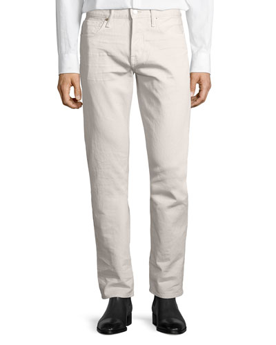 Western Corduroy Straight-Fit Pants, Bone (Neutral)