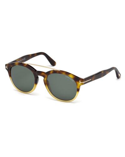 Newman Round Shiny Acetate Sunglasses, Classic Havana