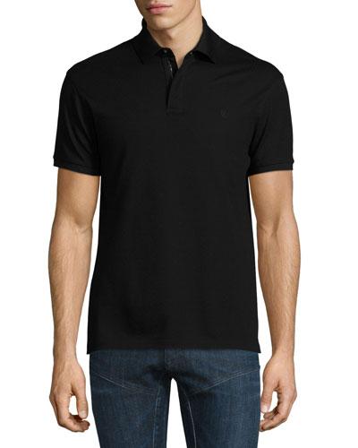 banded mens polo shirt bergdorfgoodman com  snap zip pique polo shirt, black
