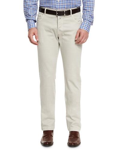 Twill Five-Pocket Pants, Tan