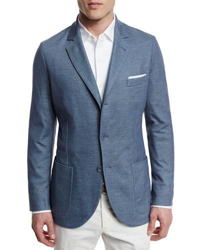 Two-Button Jersey Blazer, Aqua Glass