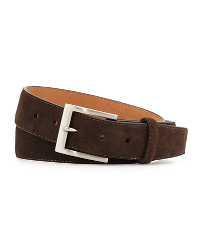 Suede Belt with Interchangeable Buckles, Dark Brown