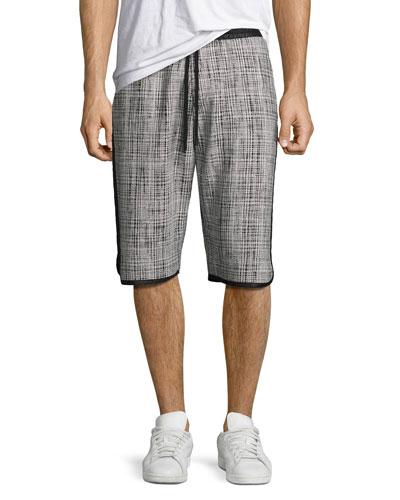 Plaid Jacquard Nylon Shorts, Black