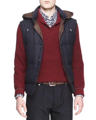 Hooded Flannel Puffer Vest, Dark Blue
