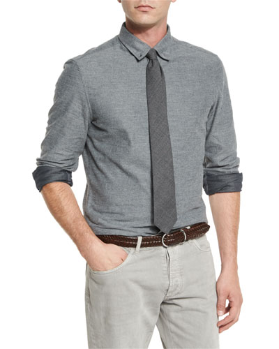 Flannel Leisure-Fit Sport Shirt, Gray