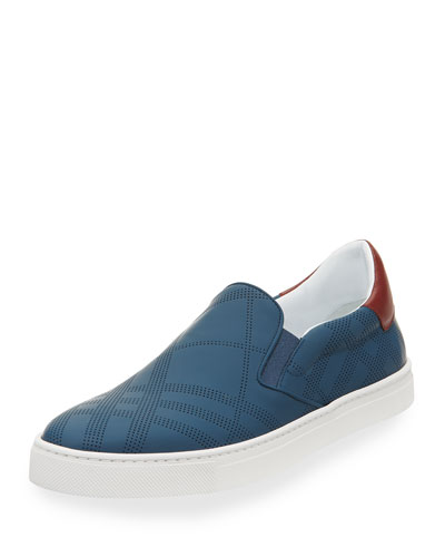 Copford Men's Perforated Check Leather Slip-On Sneaker, Dark Mineral Blue