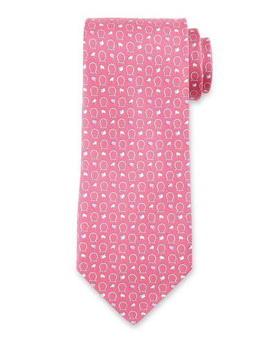 Gancini & Flag Silk Tie, Pink