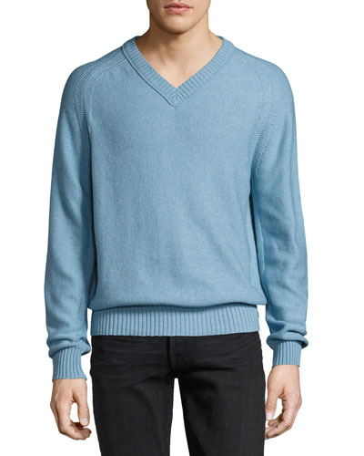Raglan Cotton-Cashmere Blend V-Neck Sweater, Sky Blue