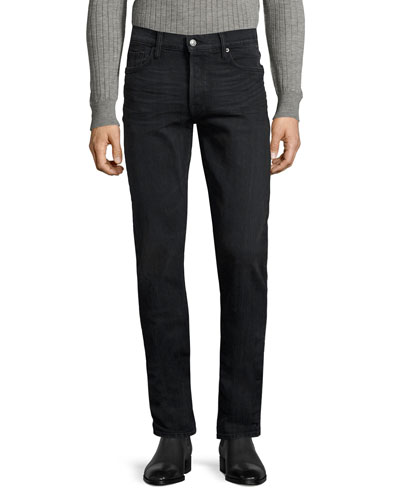 Straight-Fit Denim Jeans, Worn Black
