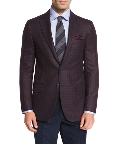 Gun-Check Two-Button Sport Coat, Burgundy/Navy