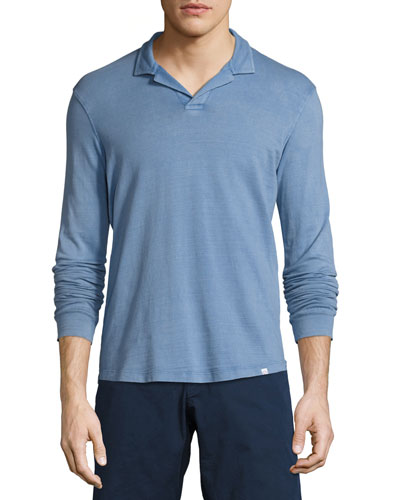 Miles Long-Sleeve Polo Shirt, Deepest Blue