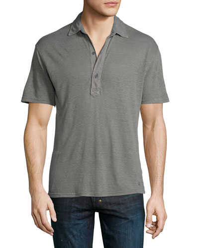 Branigan Tailored-Fit Garment-Dyed Linen Polo Shirt, Fossil