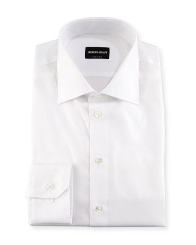 Solid Cotton Dress Shirt, White