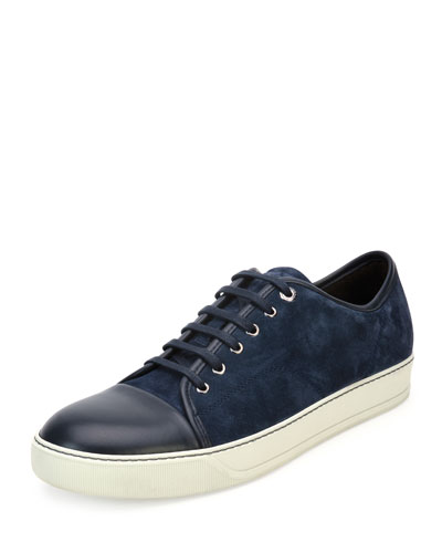 Men's Suede Cap-Toe Low-Top Sneaker, Blue
